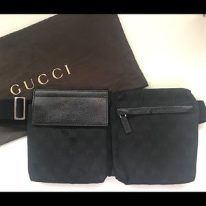 Gucci Waist Pouch in Black Canvas